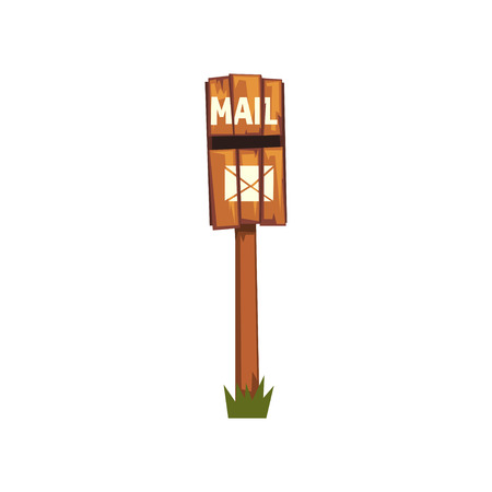 Old wooden mailbox standing on piece of green grass. Cartoon icon of brown post box on pole made out of wood. Front view. Flat vector design for web site Illustration
