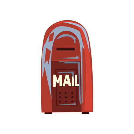 Cartoon style icon of old shabby mailbox. Red hanging metallic postbox. Sign for people communication concept.