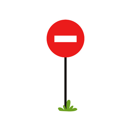 Prohibitory road sign. Red circle with white rectangle. One-way traffic.