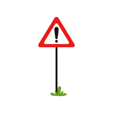 Triangular road sign with exclamation mark. Warning traffic sign indicates hazard ahead. Possible danger. Flat vector design for educational mobile app or book