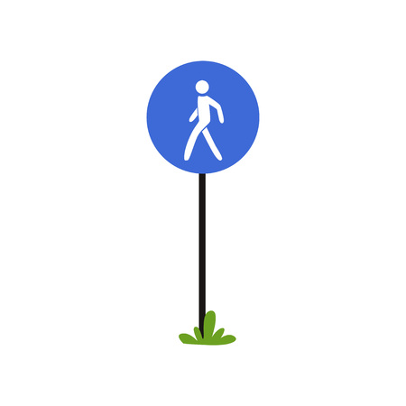 Pedestrian walkway sign on metallic pole. Large blue circle with silhouette of human. Flat vector design for infographic poster, mobile app or educational book
