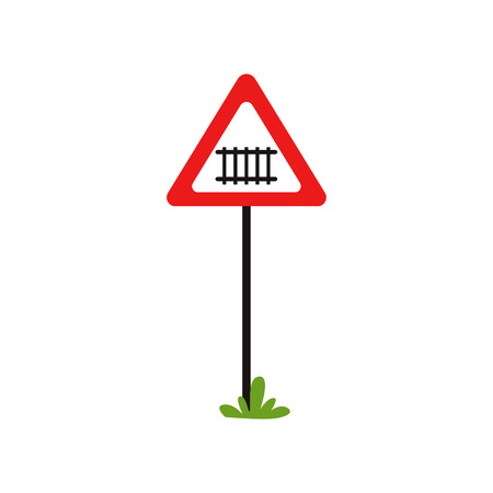 Road notice warns drivers of approaching to railway crossing. Triangular warning sign with barrier.