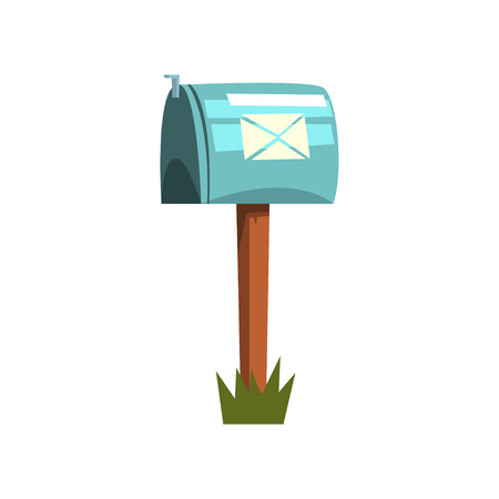 Cartoon illustration of metallic mailbox on wooden pole. Icon of blue closed postbox standing on piece of green grass.