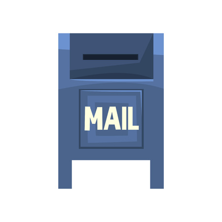 Cartoon illustration of blue outdoor mailbox. Large metallic roadside postbox. Public box with little slot for envelopes letters. Front view. Colorful flat vector icon