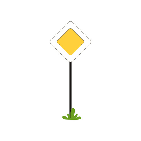 Priority traffic sign of main road in shape of rhombus. Flat vector design for infographic poster. Illustration