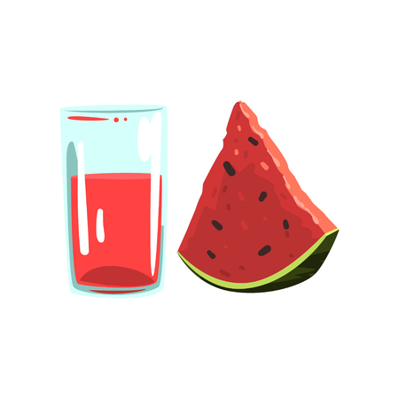 Watermelon fruit juice, glass of natural vegetarian drink, healthy organic food vector Illustration on a white background