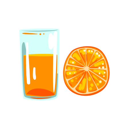 Orange fruit juice, glass of natural vegetarian drink, healthy organic food vector Illustration on a white background