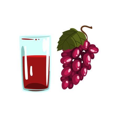 Grape juice, glass of natural vegetarian drink, healthy organic food vector Illustration on a white background