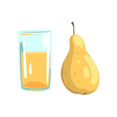 Pear fruit juice, glass of natural vegetarian drink, healthy organic food vector Illustration on a white background Ilustração