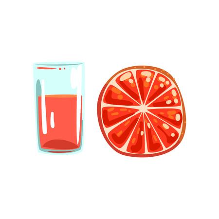 Grapefruit fruit juice, glass of natural vegetarian drink, healthy organic food vector Illustration on a white background