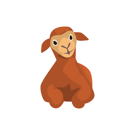Brown lamb lying down, cute farm animal front view vector Illustration on a white background