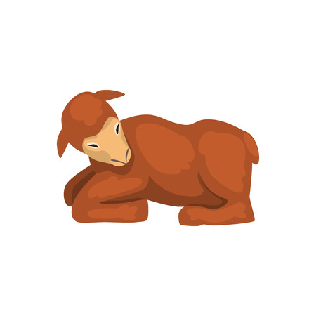 Brown lamb lying down, cute farm animal side view vector Illustration isolated on a white background