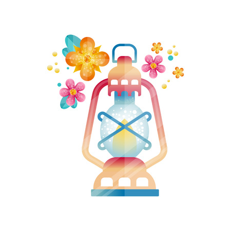 Traditional arabic lantern, Muslim Ramadan colorful oil light lamp decorated with flowers vector Illustration