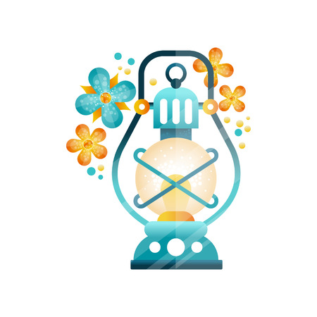Traditional arabic lantern in blue and yellow colors, Muslim Ramadan oil light lamp and flowers vector Illustration