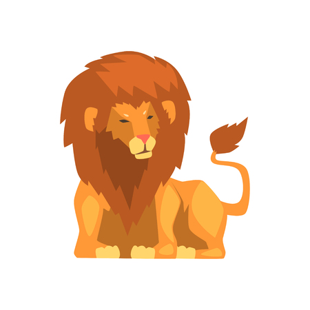 Powerful lion lying down, wild predatory animal vector Illustration on a white background