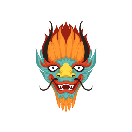Visage de dragon, symbole du vecteur chinois Boat Festival Illustration sur fond blanc