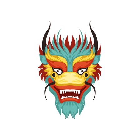Dragon face, colorful symbol of Chinese traditional Boat Festival vector Illustration on a white background