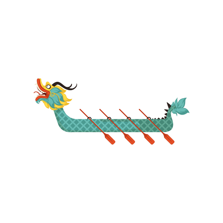 Dragon Boat with paddles, symbol of Chinese traditional Festival vector Illustration on a white background