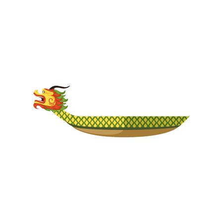 Dragon Boat, símbolo del festival tradicional chino ilustración vectorial sobre un fondo blanco.