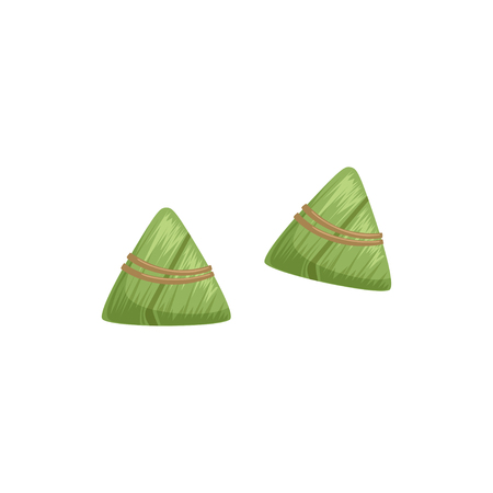 Chinese rice dumplings with bamboo leaf