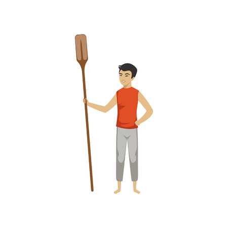 Chinese man standing and holding wooden oar, Chinese Boat Festival vector Illustration on a white background 向量圖像