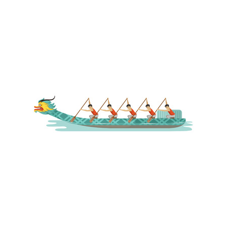 Rowing team competing in the traditional Dragon Boat Festival vector Illustration
