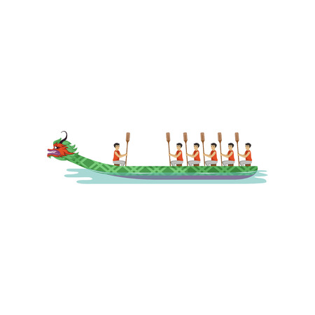 Dragon boat Rowing team competing in traditional Dragon Boat Festival vector Illustration
