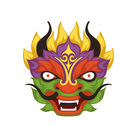 Colorful dragon head, symbol of Chinese traditional Boat Festival vector Illustration on a white background