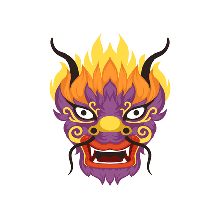 Dragon head, element of Chinese traditional Boat Festival vector Illustration on a white background