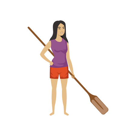 Chinese girl standing and holding wooden oar, Chinese Boat Festival vector Illustration on a white background