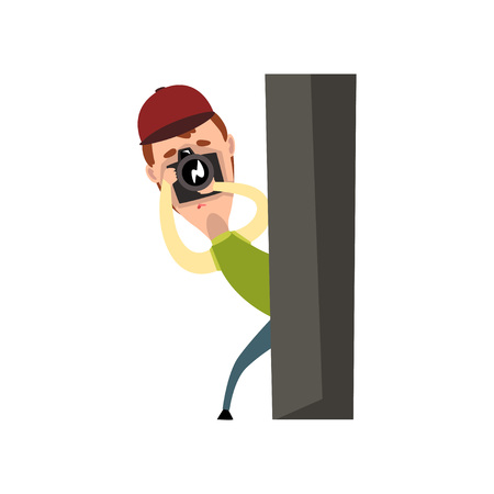 Professional male photographer paparazzi with camera taking pictures, spy hiding behind a post vector Illustration on a white background