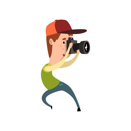 Professional male photographer paparazzi with camera taking photo vector Illustration on a white background