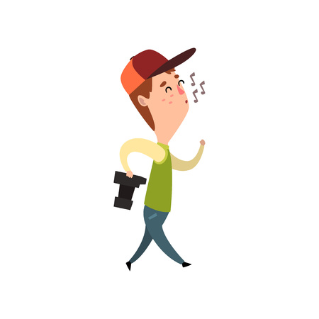 Male photographer with photo camera whistling, paparazzi, blogger or journalist vector Illustration on a white background Ilustracja