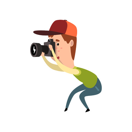 Male photographer with photo camera, paparazzi taking photo, blogger or journalist concept vector Illustration on a white background Vettoriali