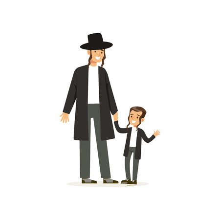 Cartoon characters of orthodox jews smiling father and his little son with payots. Religious family. Jewish rabbi. Members of Semitic culture. Flat vector design