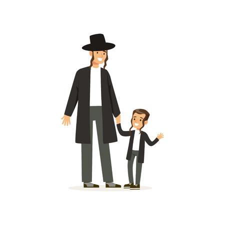 Stripfiguren van orthodoxe joden lachende vader en zijn zoontje met payots. Religieuze familie. Joodse rabbijn. Leden van de Semitische cultuur. Platte vector ontwerp
