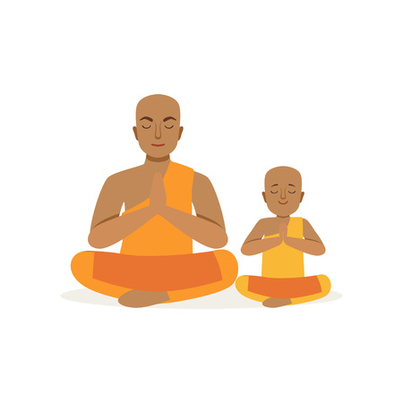 Buddhist father and his little son meditating in lotus position. Religious family. Man and boy in national costumes. Cartoon people characters. Flat vector design Vettoriali