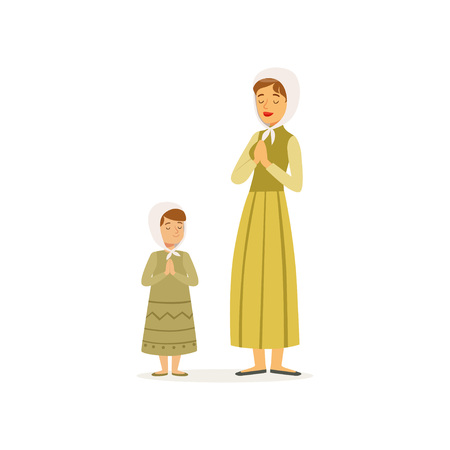 Mother with her daughter prays to the Lord. Woman and little girl in long dresses and headscarves. Religious family. Cartoon people characters. Flat vector design