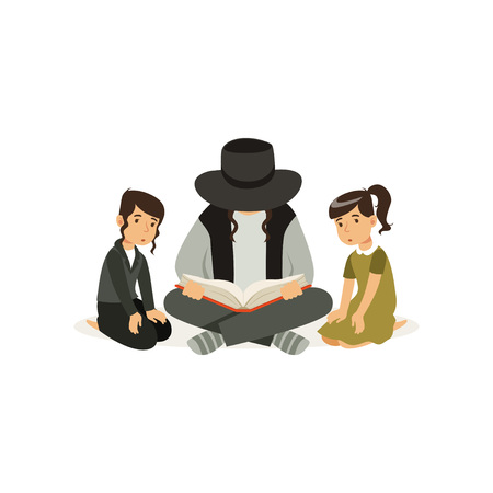 Father with children sitting on floor and reading book about religion Torah . Jewish family. Man and his little kids boy and girl . Cartoon flat vector design