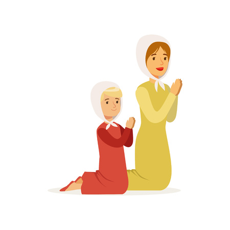 Little girl with mother kneeling and praying to God. Woman and her daughter in long dresses and headscarves. Religious family. Cartoon people characters. Flat vector design Stock Illustratie