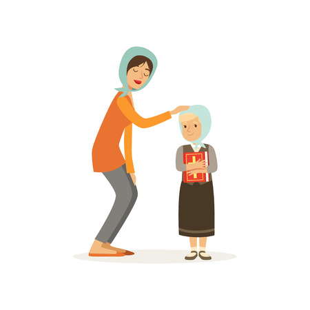 Cartoon character of Christian woman and her daughter dressed in headscarves. Mother and child. Girl holding holy book. Religious family. Flat vector design