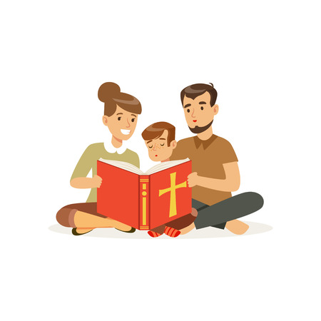 Mother, father and son sitting on floor and reading holy book. Religious family. Parents and child. Cartoon characters of Christian people. Flat vector design