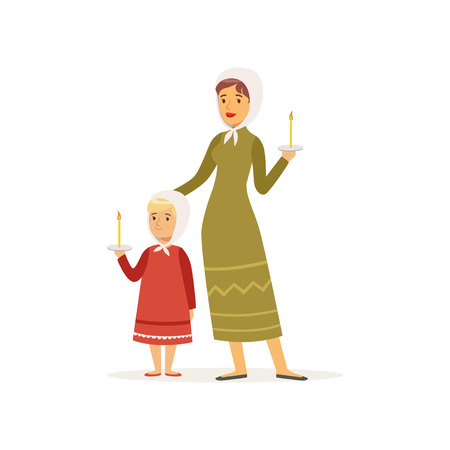 Cartoon character of mother and her daughter in long dresses and headscarves. Woman and girl holding burning candles. Catholic religion. Flat vector design