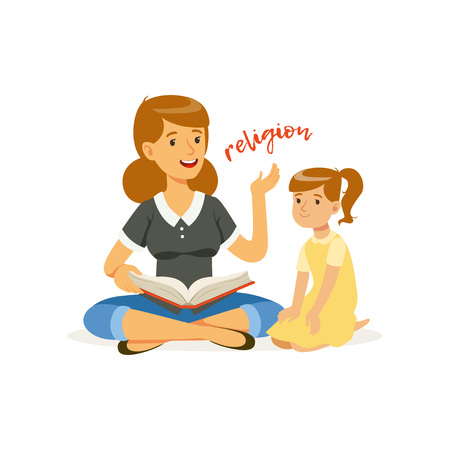 Mother reading a book about religions to her little daughter. Woman and girl sitting on floor. Religious family. Cartoon people characters. Flat vector design