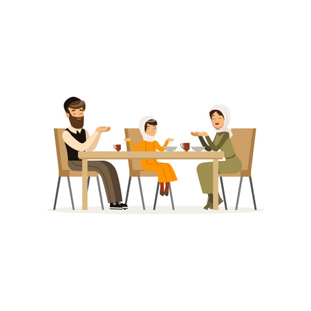 Muslim family sitting at dinner table. Mother, bearded father and their daughter. Cartoon character of man, woman and little girl. Religious people. Flat vector design Foto de archivo - 97537366