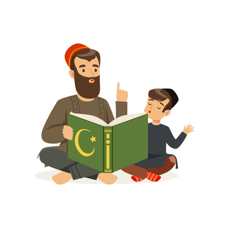 Father and his little son sitting on floor and reading holy book. Islamic religion. Muslim family. Cartoon religious people. Bearded man and kid in national headdress. Flat vector design Illustration