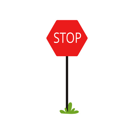 Cartoon icon of red traffic sign with word Stop . Motion without stopping is prohibited. Flat vector design for educational book or mobile app