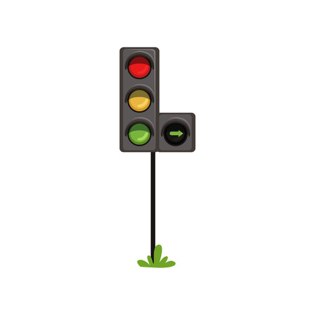 Traffic lights with additional section right turn . Road semaphore with colorful lamps red, yellow and green. Flat vector design for infographic or mobile app Illustration