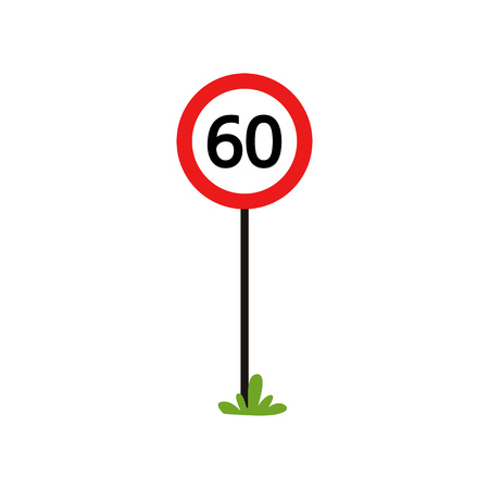 Red round sign with number 60 - indicate maximum speed limit. Flat vector design for book of traffic rules, mobile app or infographic poster