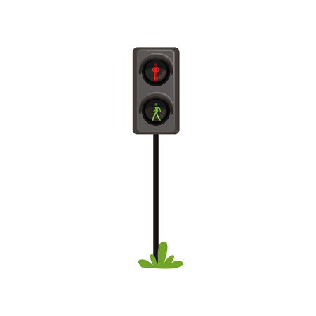 Traffic lights regulating movement of pedestrians through pedestrian crossing. Semaphore with silhouette of man. Red - standing, green - walking. Flat vector icon Illustration